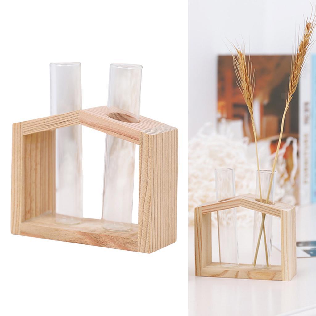 Indexbild 16 - Reagenzglas Vase Holzständer Blumentöpfe Home Planter für
