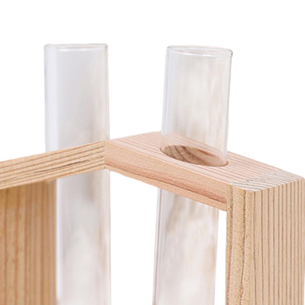 Indexbild 13 - Reagenzglas Vase Holzständer Blumentöpfe Home Planter für