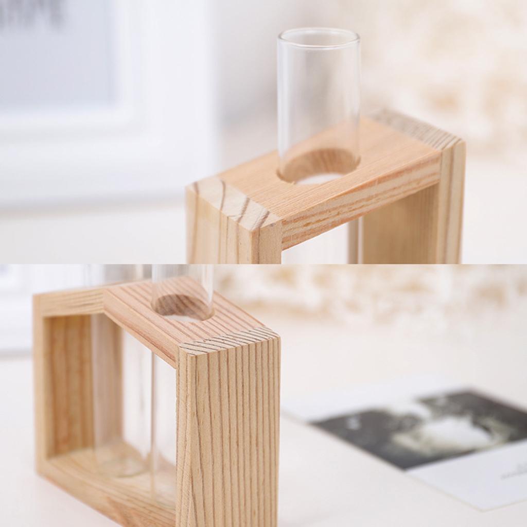 Indexbild 17 - Reagenzglas Vase Holzständer Blumentöpfe Home Planter für