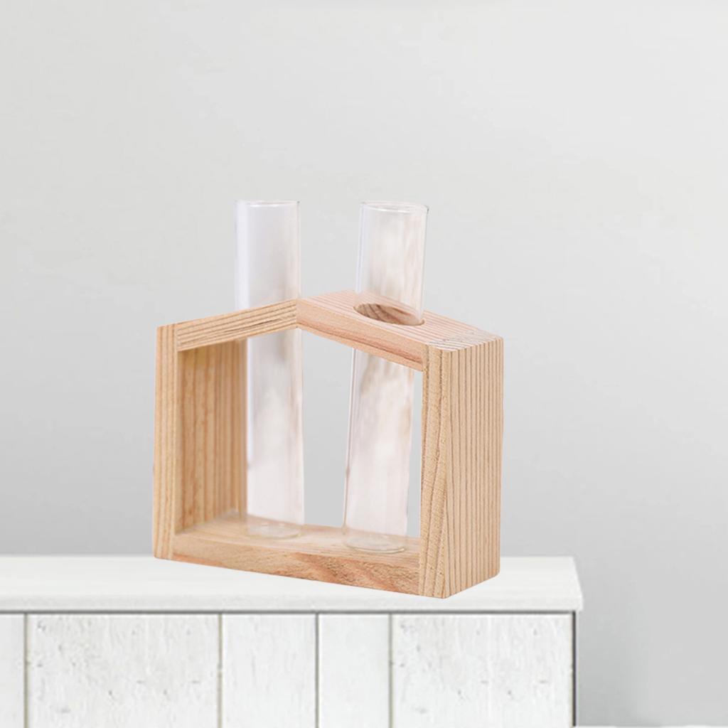 Indexbild 20 - Reagenzglas Vase Holzständer Blumentöpfe Home Planter für