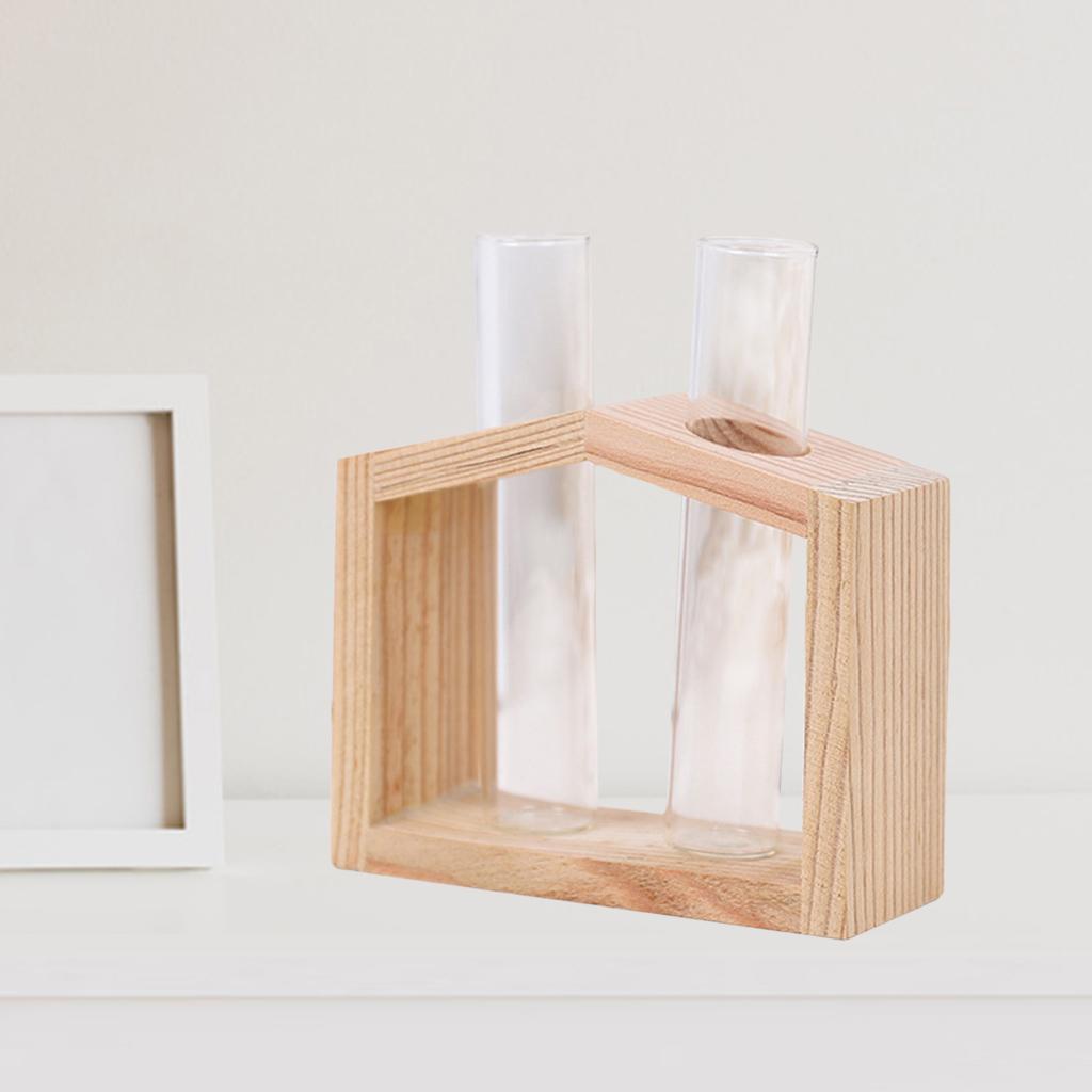 Indexbild 19 - Reagenzglas Vase Holzständer Blumentöpfe Home Planter für