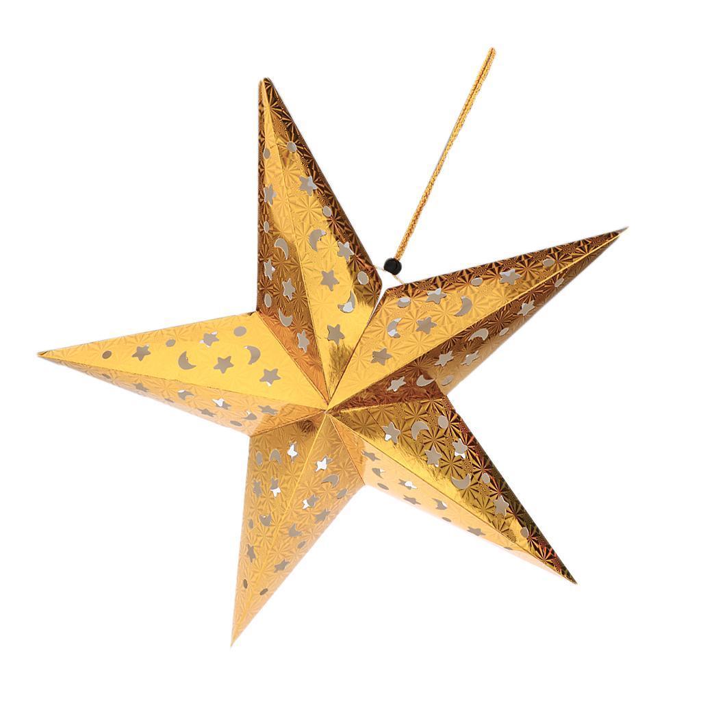 Xmas Gift Christmas Pentagram Lampshade Paper Star lantern Hanging Star Tree