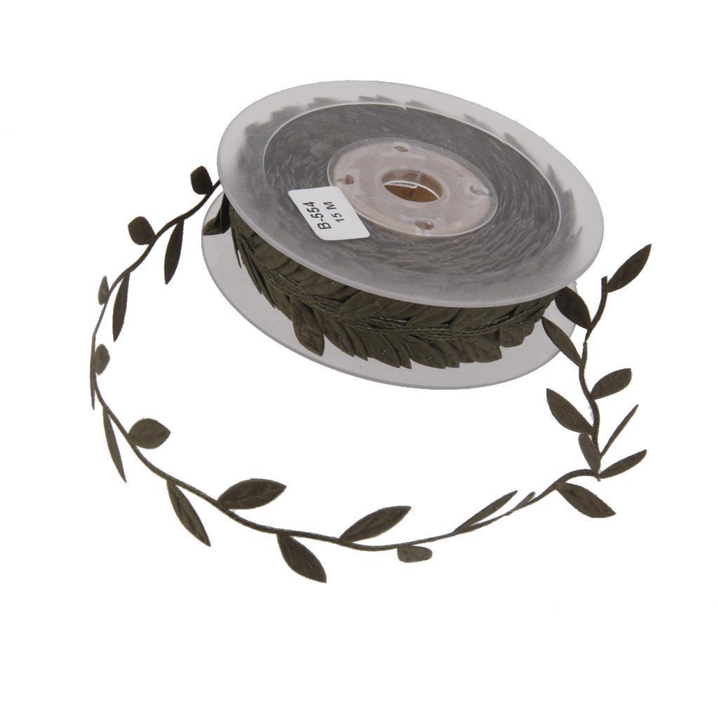 thumbnail 4 - 10 Yards Bridal Vintage Satin Leaf Leaves Vine Garlands Ribbon Sew On Lace Trim