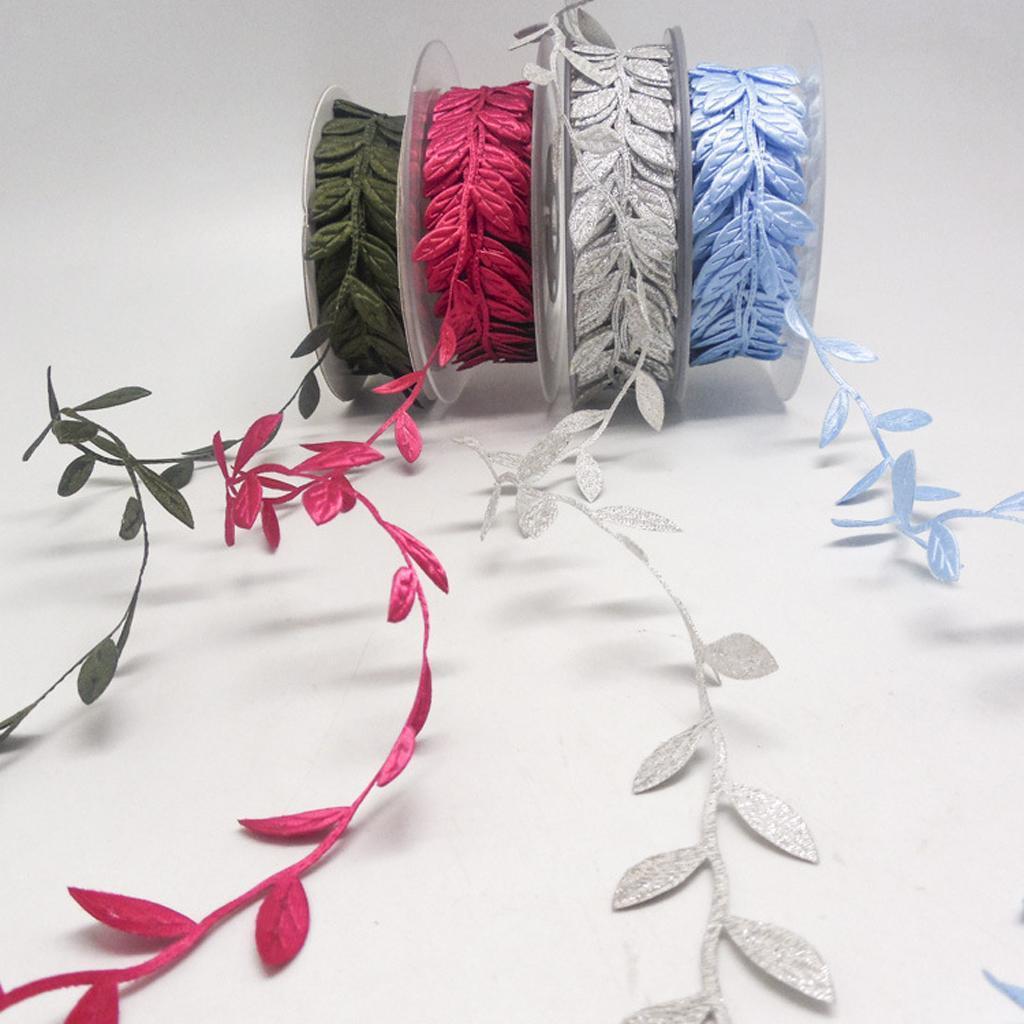 thumbnail 5 - 10 Yards Bridal Vintage Satin Leaf Leaves Vine Garlands Ribbon Sew On Lace Trim
