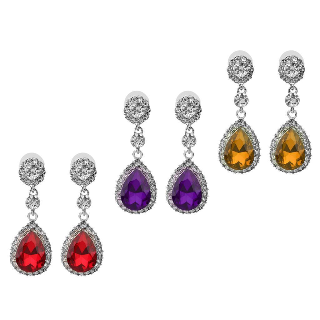 miniatura 4 - Orecchino con strass in cristallo a goccia per gioielli da ballo per feste