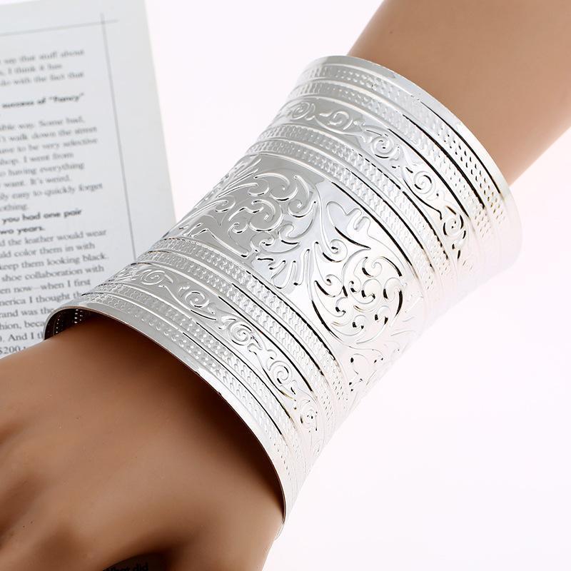 Indexbild 7 - Ethnische breite Manschette Armreif Armband plattiert gebogen C Form Charms