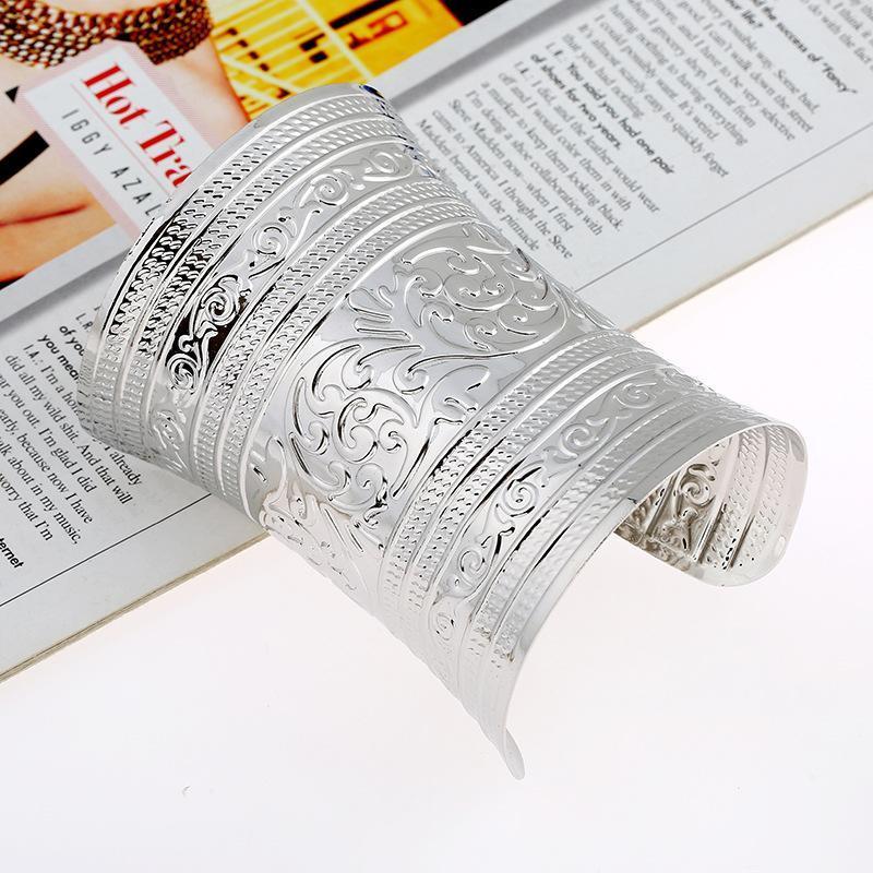 Indexbild 6 - Ethnische breite Manschette Armreif Armband plattiert gebogen C Form Charms