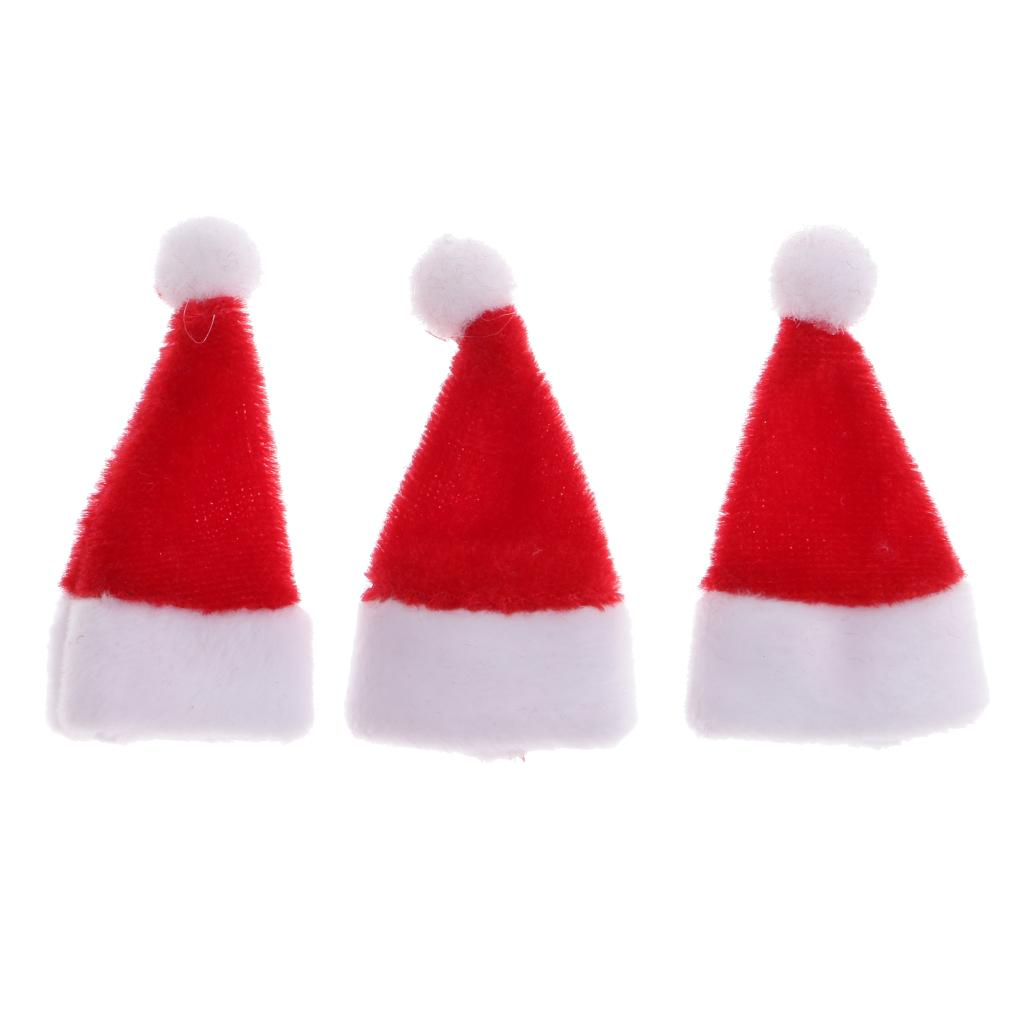 6 pièces Dollhouse Miniature Noël Santa Claus Hat 1//12 échelle