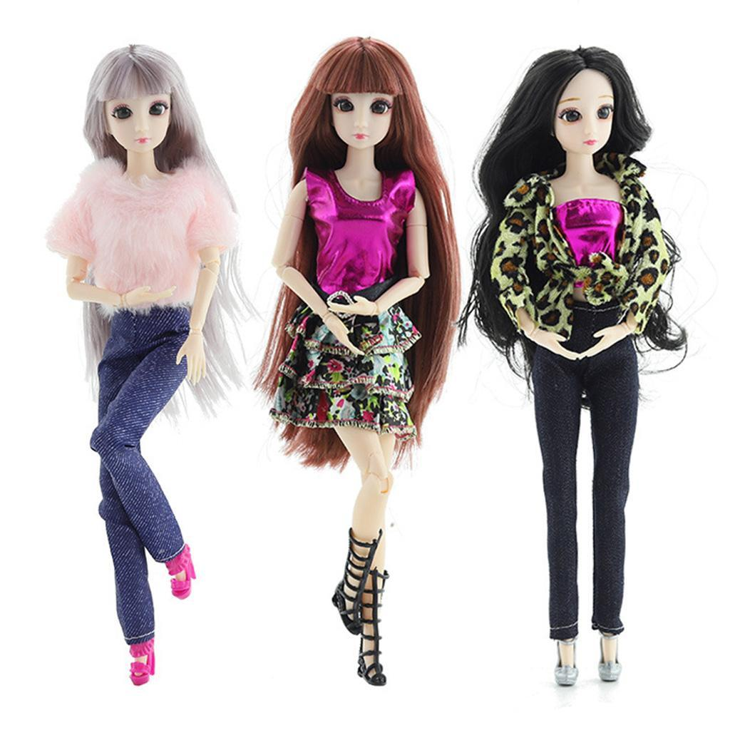 20-Ball-Joint-Dolls-3D-Eyes-w-Outfit-Fashion-Cute-Girl-Xmas-Gifts-White-Toy thumbnail 6