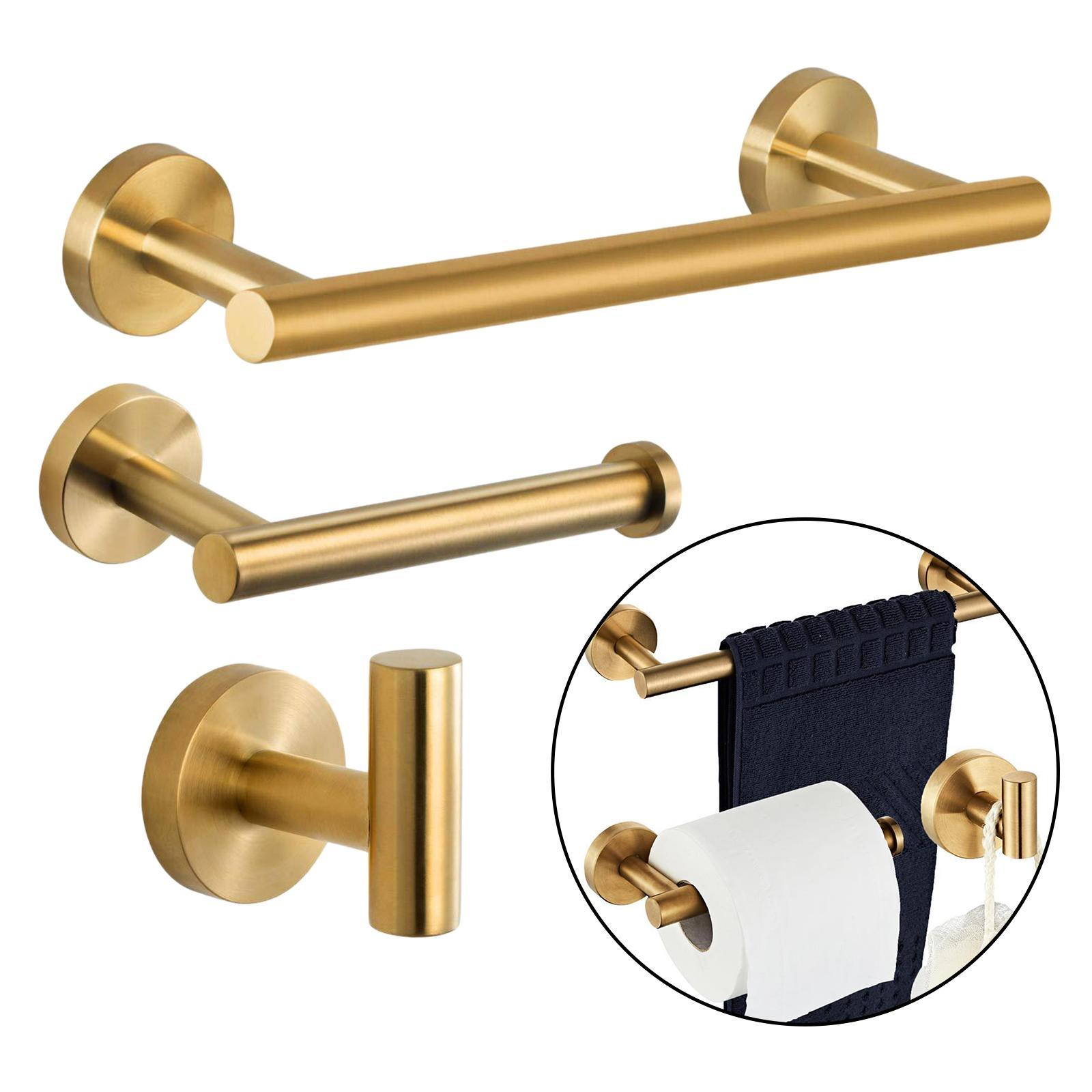 thumbnail 28 - 3x-Brushed-Robe-Hook-Toilet-Paper-Holder-12-034-Hand-Towel-Bar-Hardware-Set