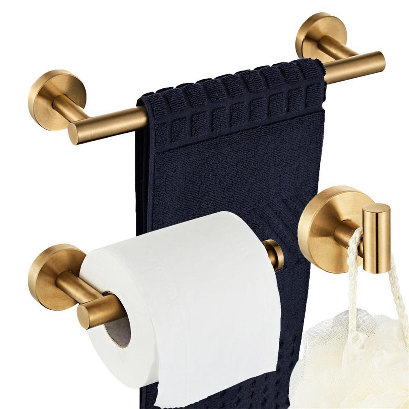 thumbnail 26 - 3x-Brushed-Robe-Hook-Toilet-Paper-Holder-12-034-Hand-Towel-Bar-Hardware-Set