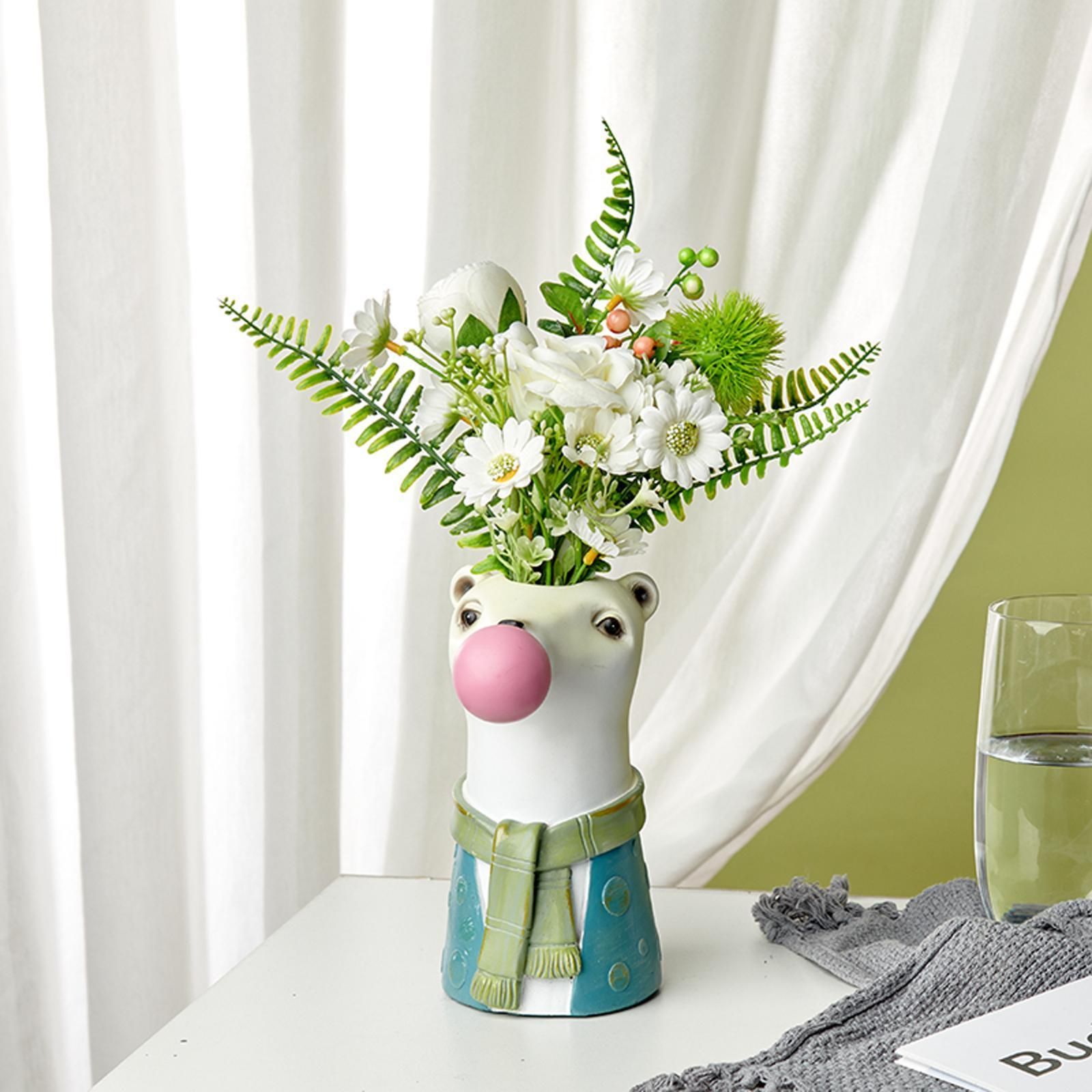 Portrait Flower Vase Planter Pot Resin Office Desktop