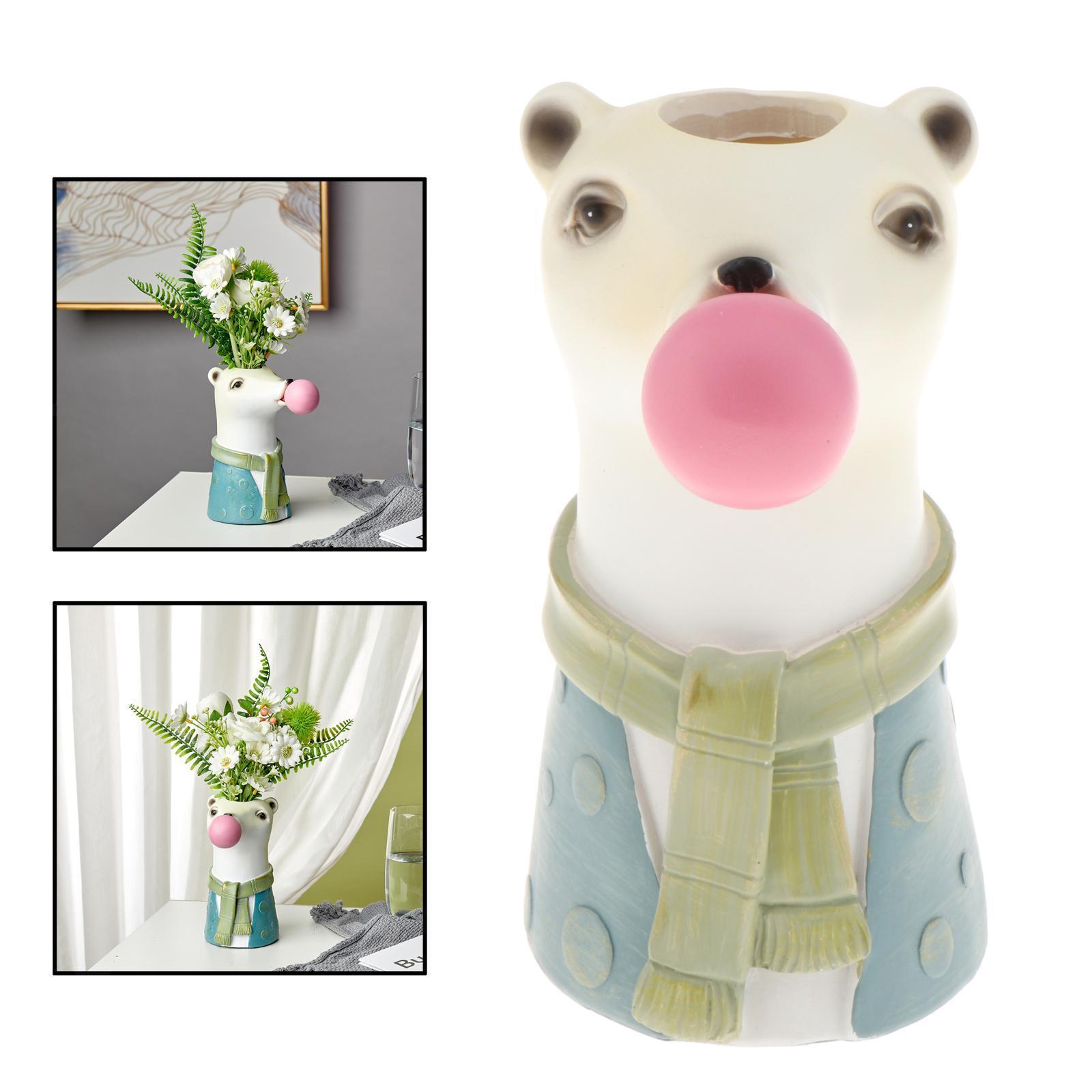 Indexbild 9 - Harz Tierkopf Trockenblume Vase Pflanzer Topf Home Office Bar Desktop Ornament