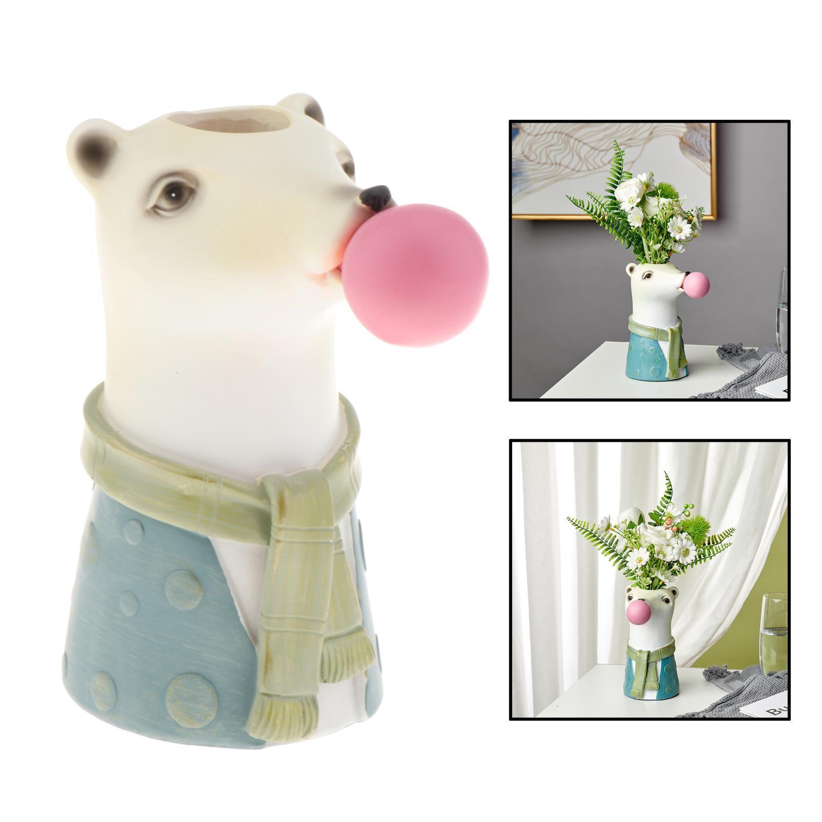Indexbild 10 - Harz Tierkopf Trockenblume Vase Pflanzer Topf Home Office Bar Desktop Ornament