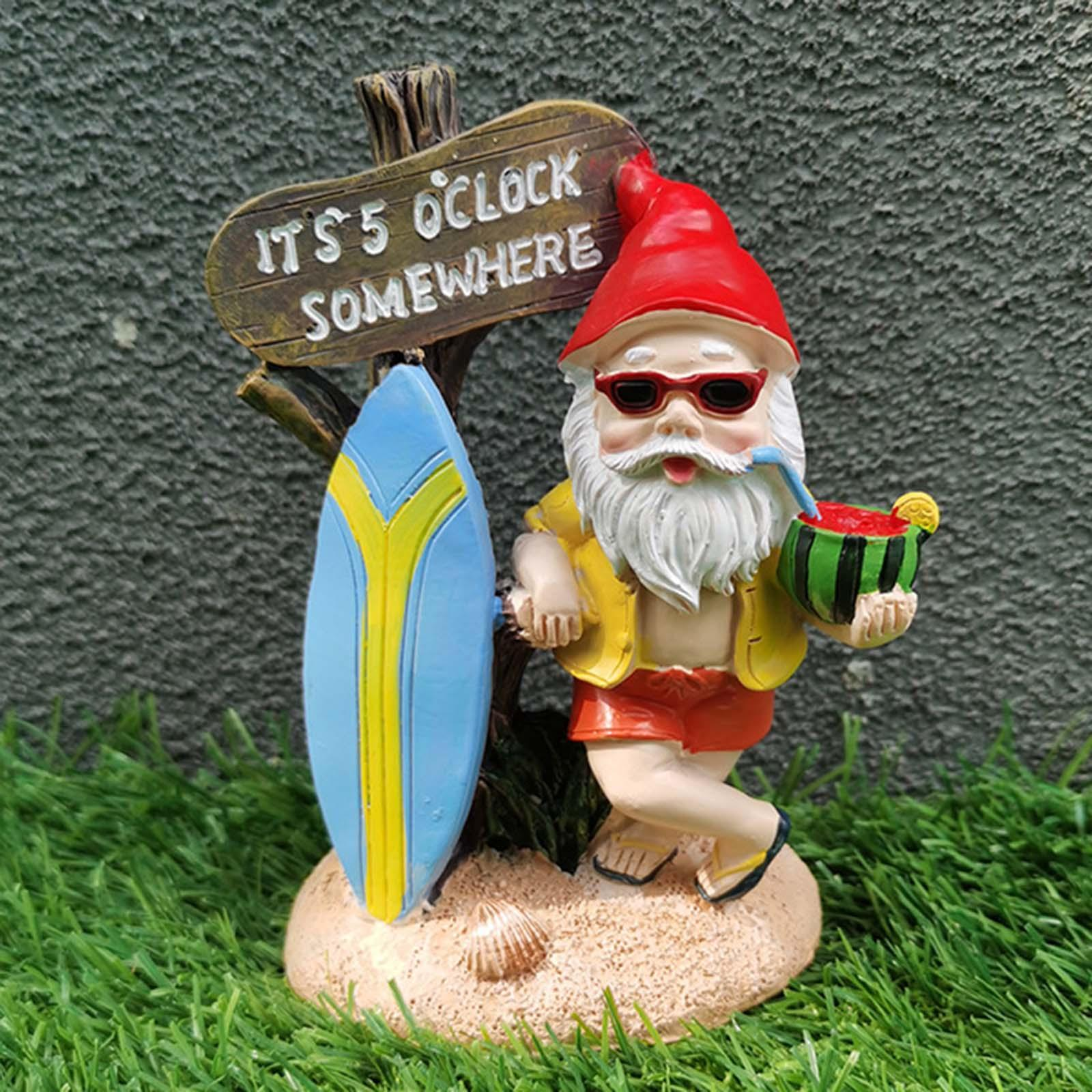 thumbnail 12 - Funny Resin Naughty Garden Gnome Statue Ornaments Villa Home Figurines