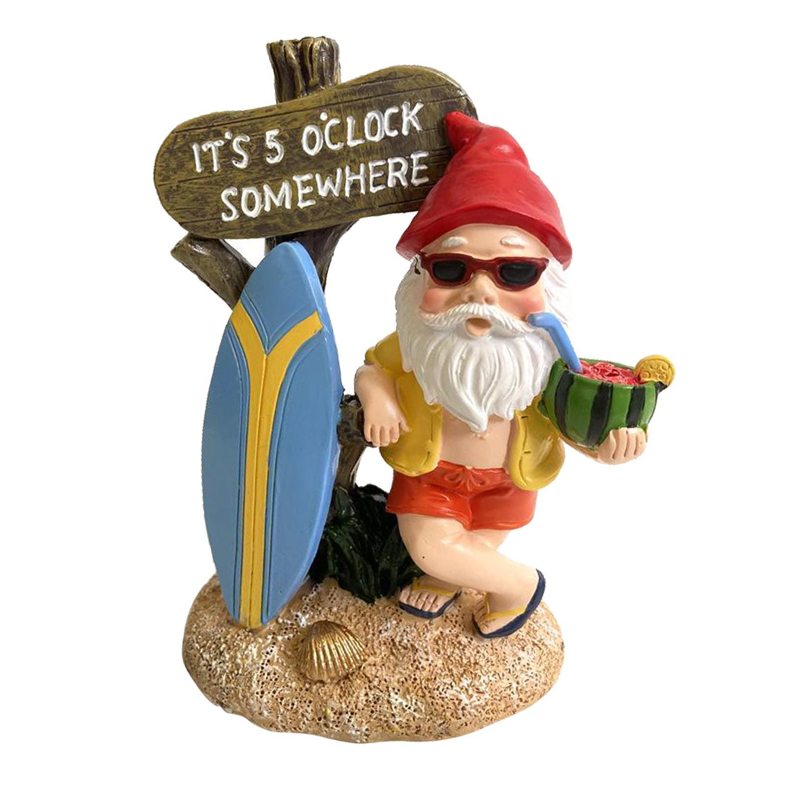 thumbnail 12 - Garden Gnome Statue Small Resin Lawn Gnome Scuplture Funny Indoor Outdoor Decor