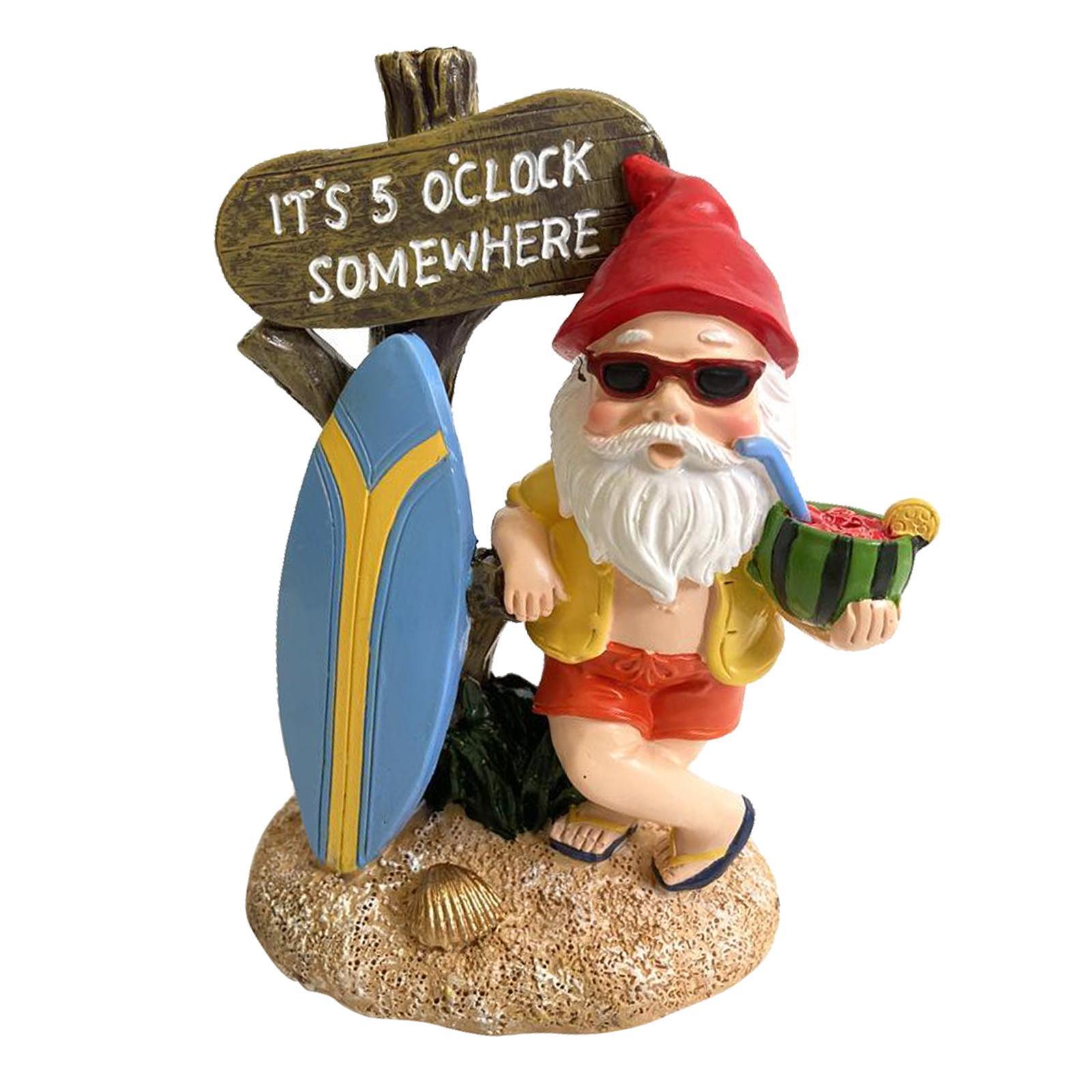 thumbnail 12 - Funny Resin Naughty Garden Gnome Statue Ornaments Villa Home Figurines Decor