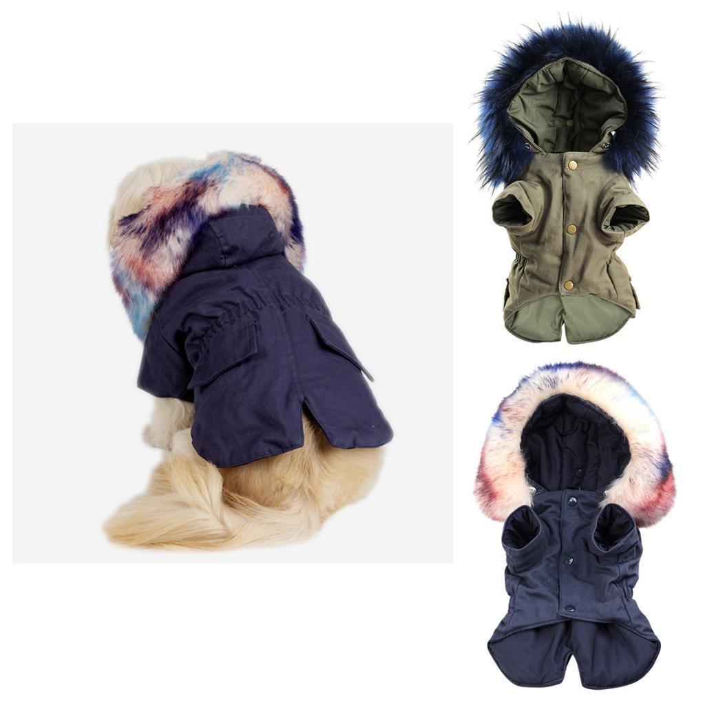 Elegant-Dog-Coat-Woolen-Fur-Collar-Puppy-Pet-Clothes-Winter-Warm-Jacket thumbnail 4