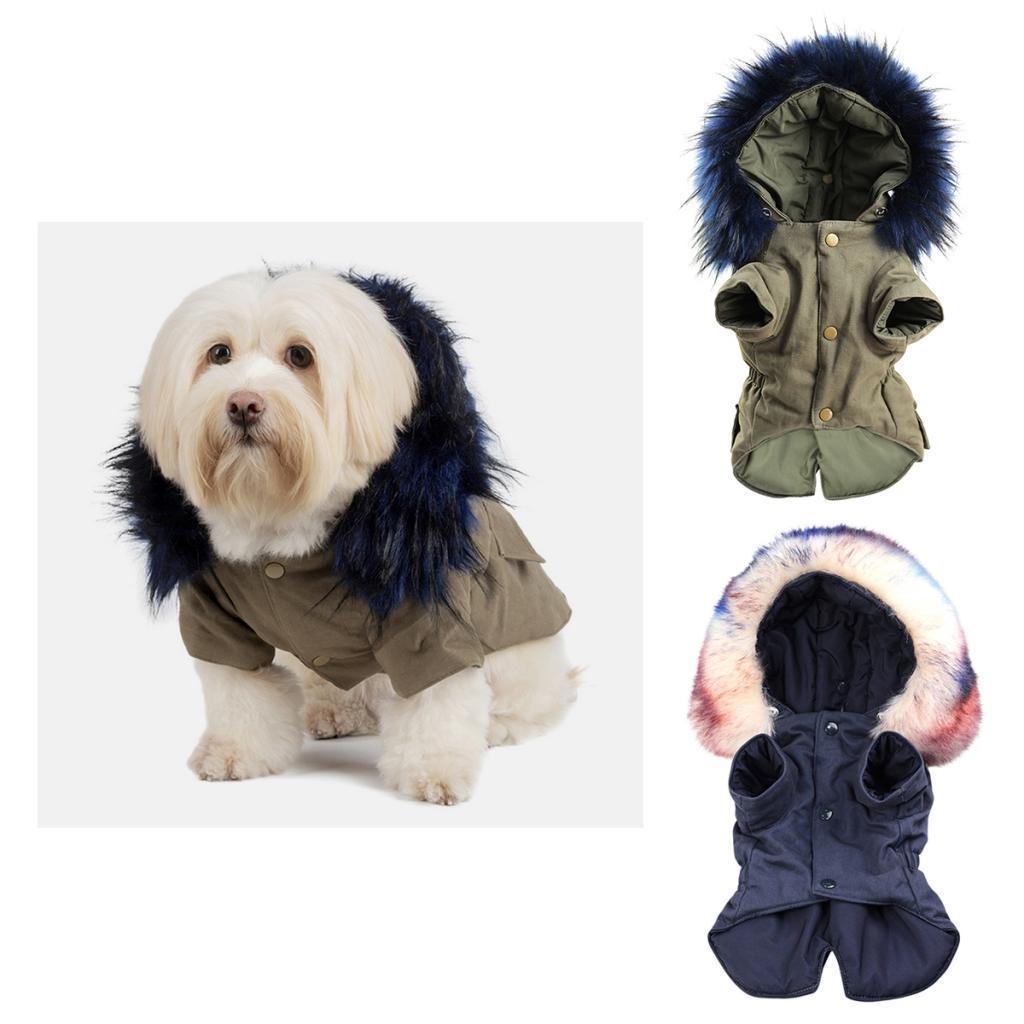 Elegant-Dog-Coat-Woolen-Fur-Collar-Puppy-Pet-Clothes-Winter-Warm-Jacket thumbnail 5