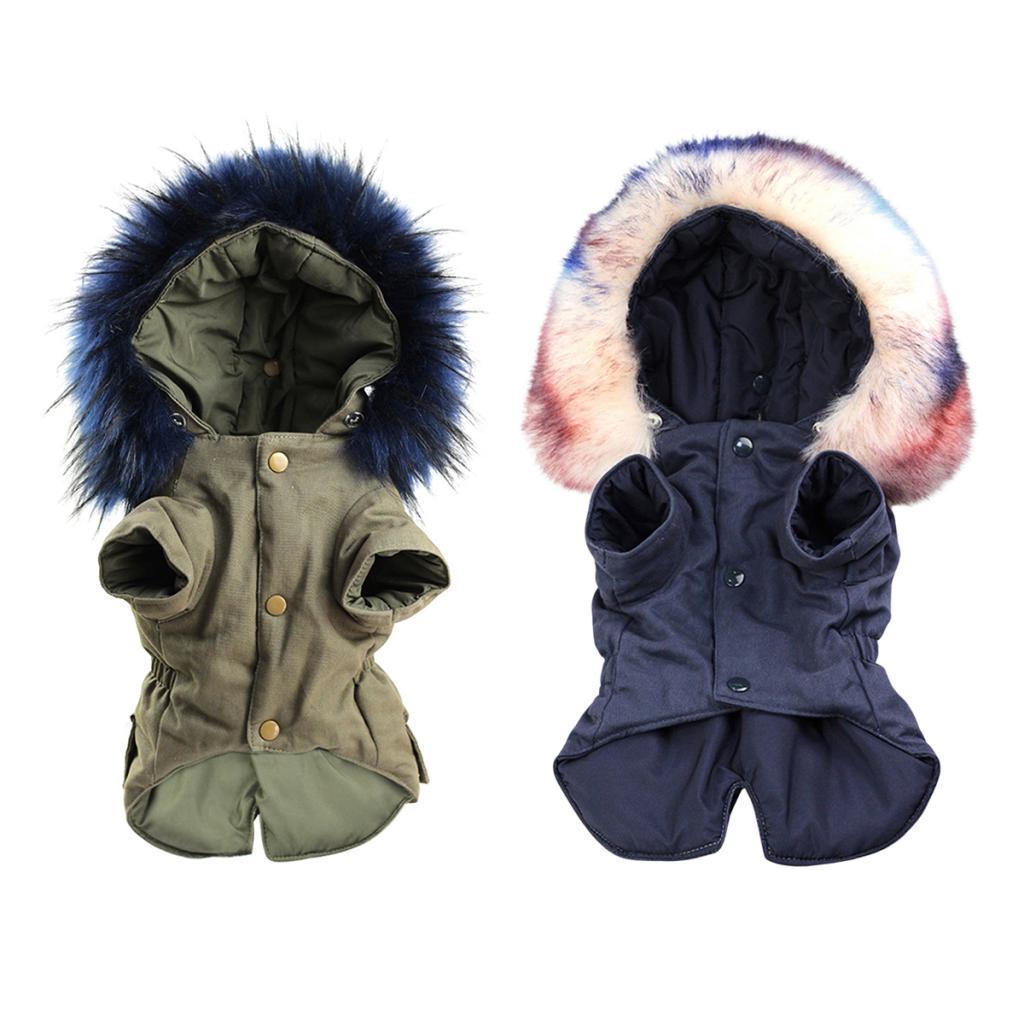 Elegant-Dog-Coat-Woolen-Fur-Collar-Puppy-Pet-Clothes-Winter-Warm-Jacket thumbnail 6