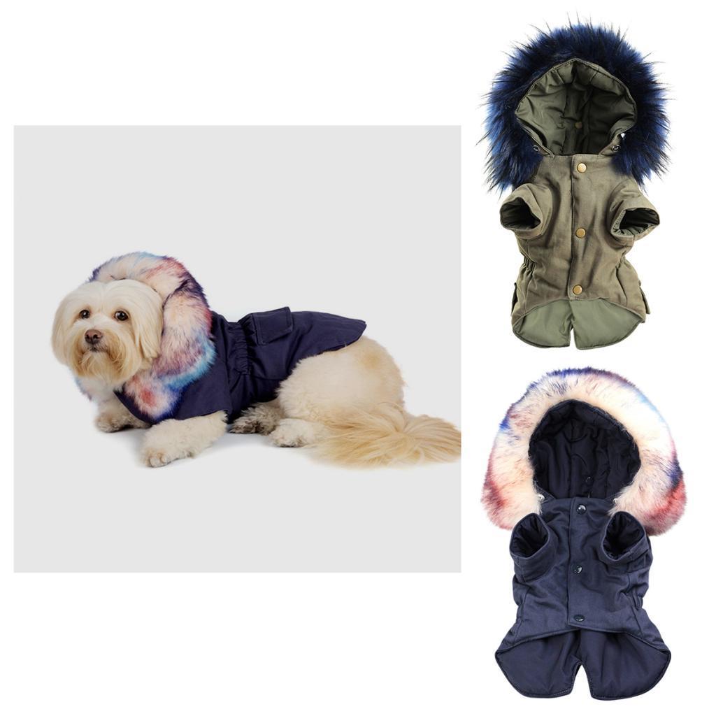 Elegant-Dog-Coat-Woolen-Fur-Collar-Puppy-Pet-Clothes-Winter-Warm-Jacket thumbnail 3