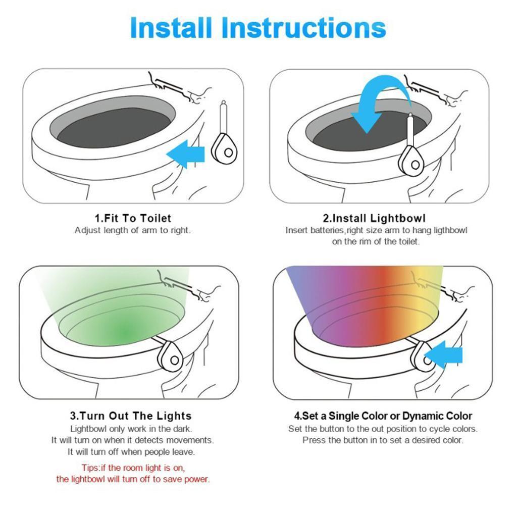 WC-Ciotola-di-Luce-di-Notte-Retroilluminazione-A-LED-Intelligente-di-Movimento miniatura 10