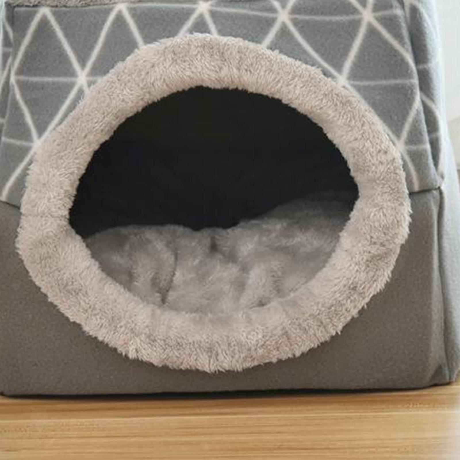 Indexbild 15 - 2-in-1-Weichen-Katzen-Haus-Schlafen-Bett-Zwinger-Puppy-Cave-Warme-Nest-Matte
