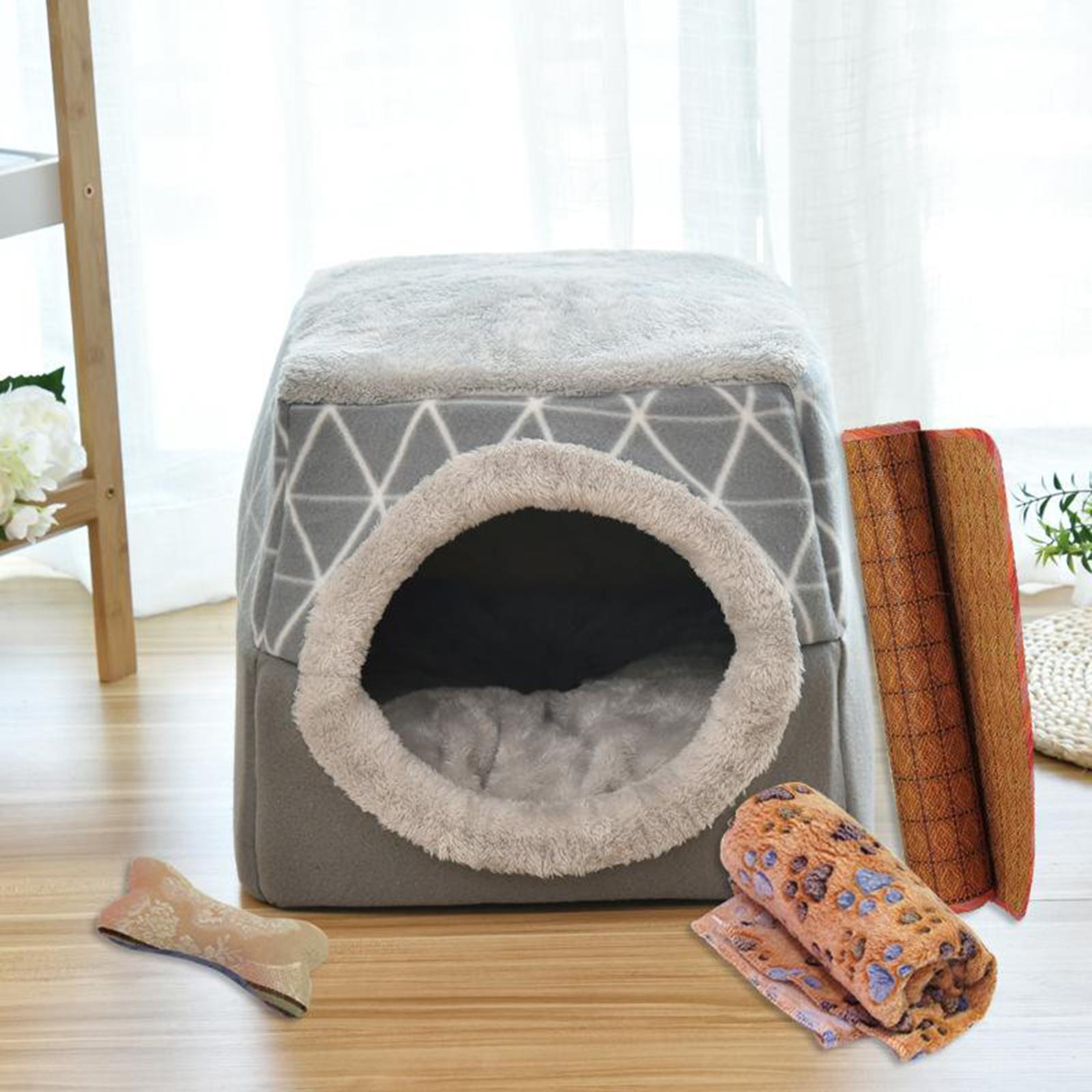 Indexbild 16 - 2-in-1-Weichen-Katzen-Haus-Schlafen-Bett-Zwinger-Puppy-Cave-Warme-Nest-Matte