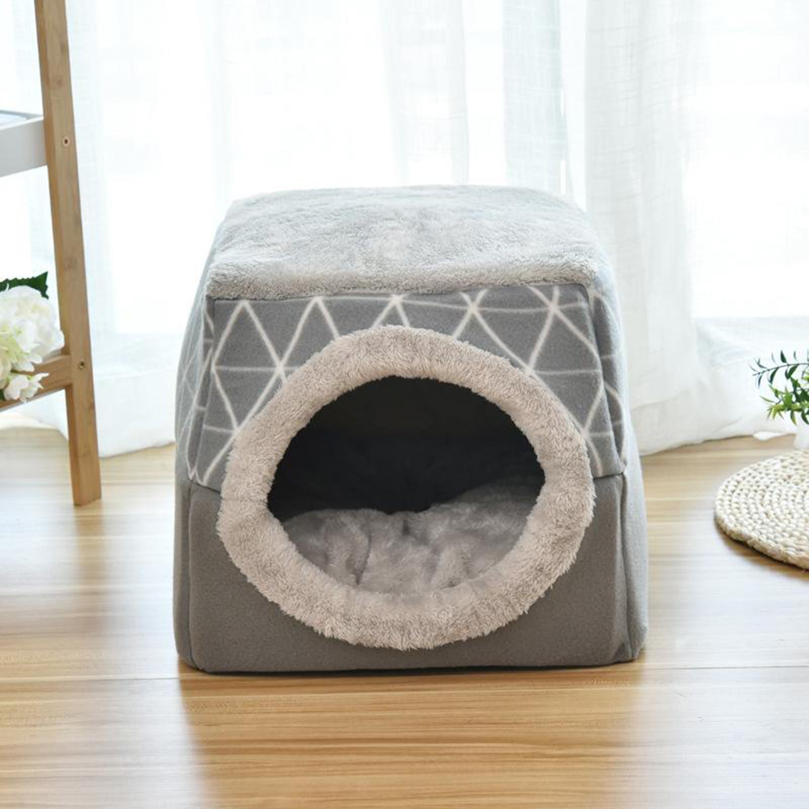 Indexbild 20 - 2-in-1-Weichen-Katzen-Haus-Schlafen-Bett-Zwinger-Puppy-Cave-Warme-Nest-Matte