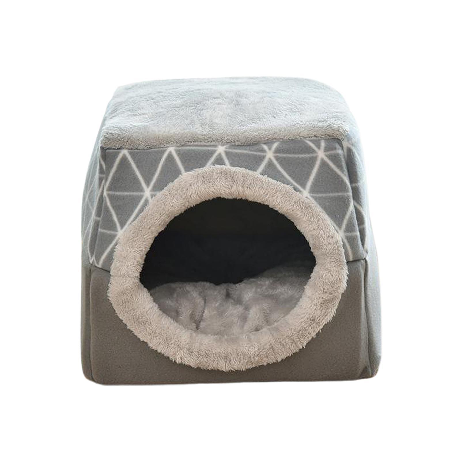 Indexbild 17 - 2-in-1-Weichen-Katzen-Haus-Schlafen-Bett-Zwinger-Puppy-Cave-Warme-Nest-Matte
