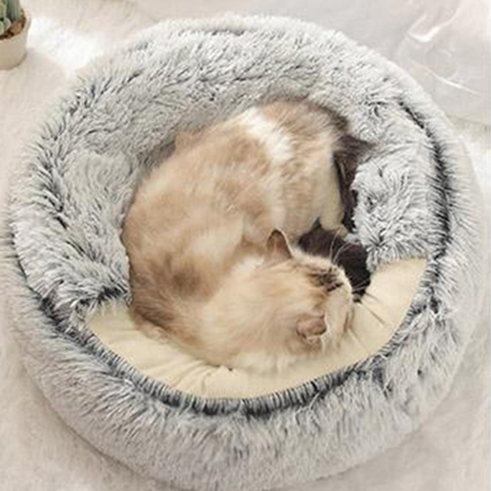 thumbnail 64 - Plush Pet Dog Cat Bed Fluffy Soft Warm Calming Bed Sleeping Kennel Cave Nest