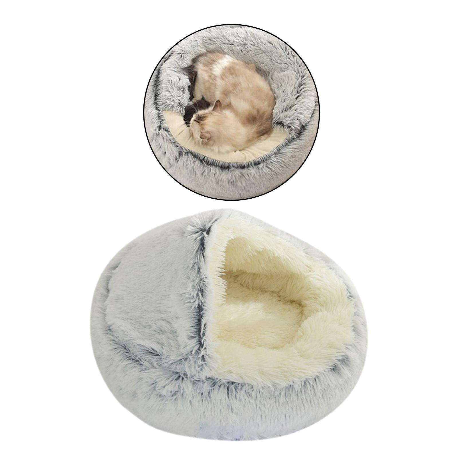 thumbnail 66 - Plush Pet Dog Cat Bed Fluffy Soft Warm Calming Bed Sleeping Kennel Cave Nest