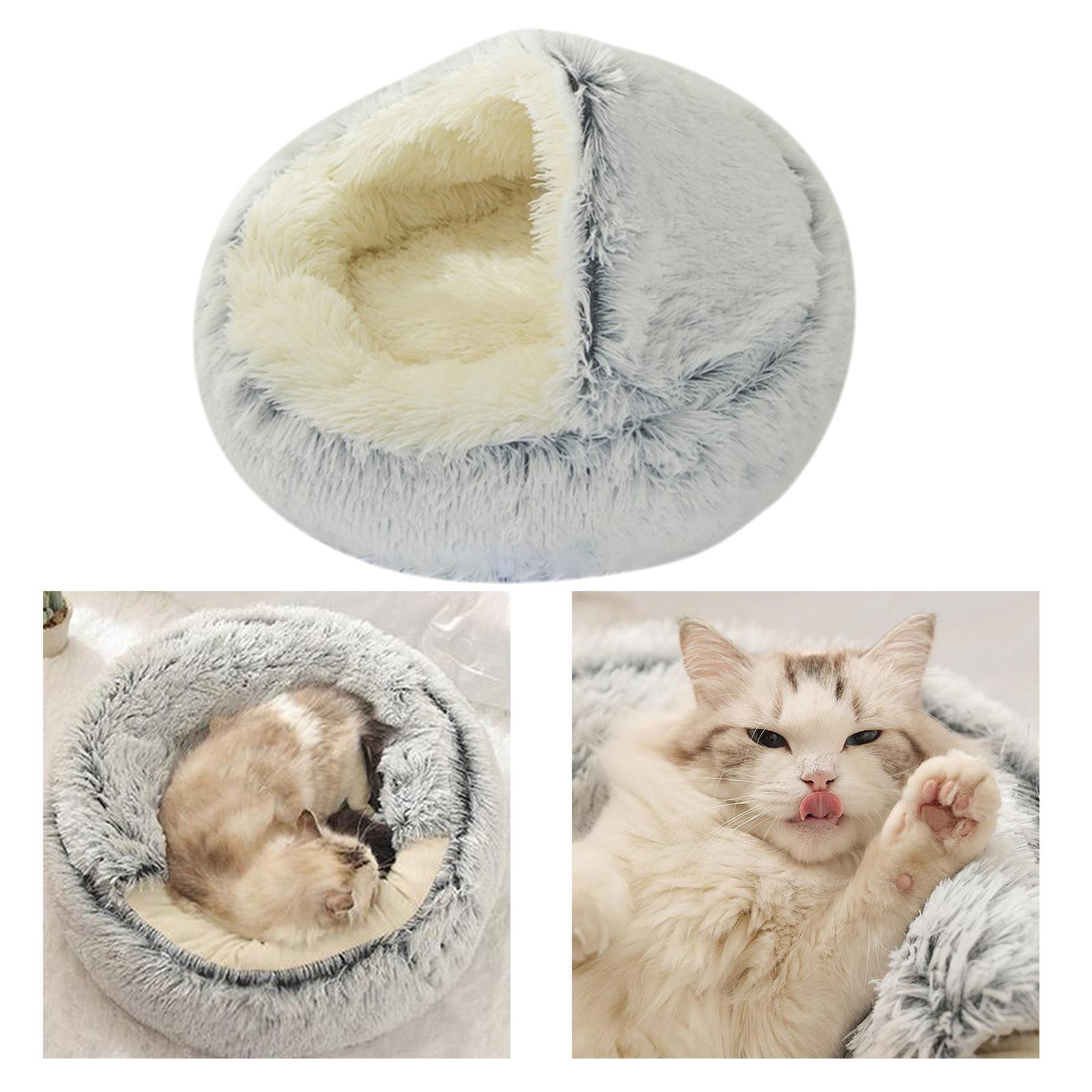 miniature 65 - Pet Chien Chat Calmant Lit Rond Nid Chaud En Peluche Confortable de Couchage