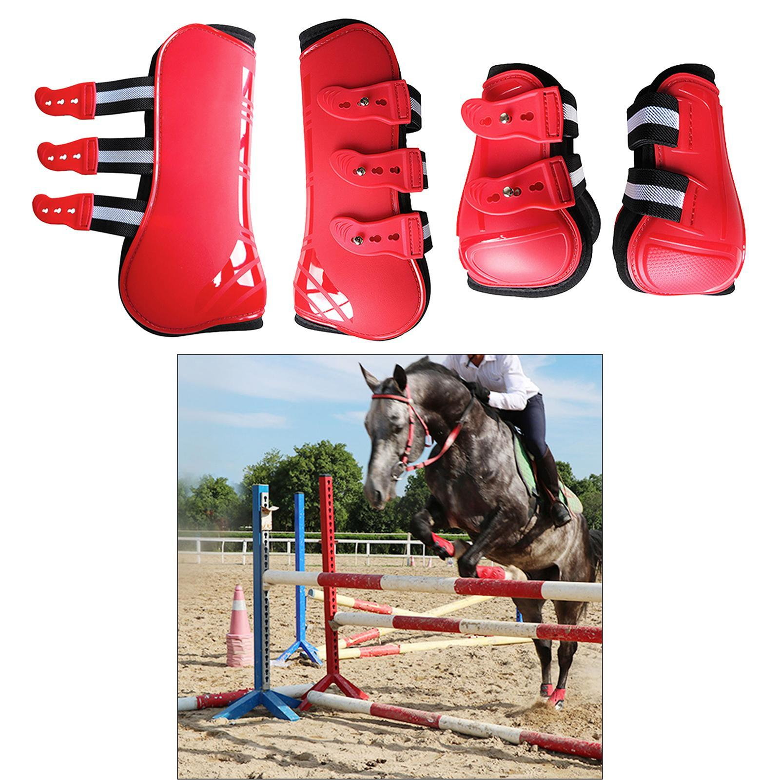 Jumping Horse Front Hind Leg Protection Boots Tendon Fetlock Support Boots White