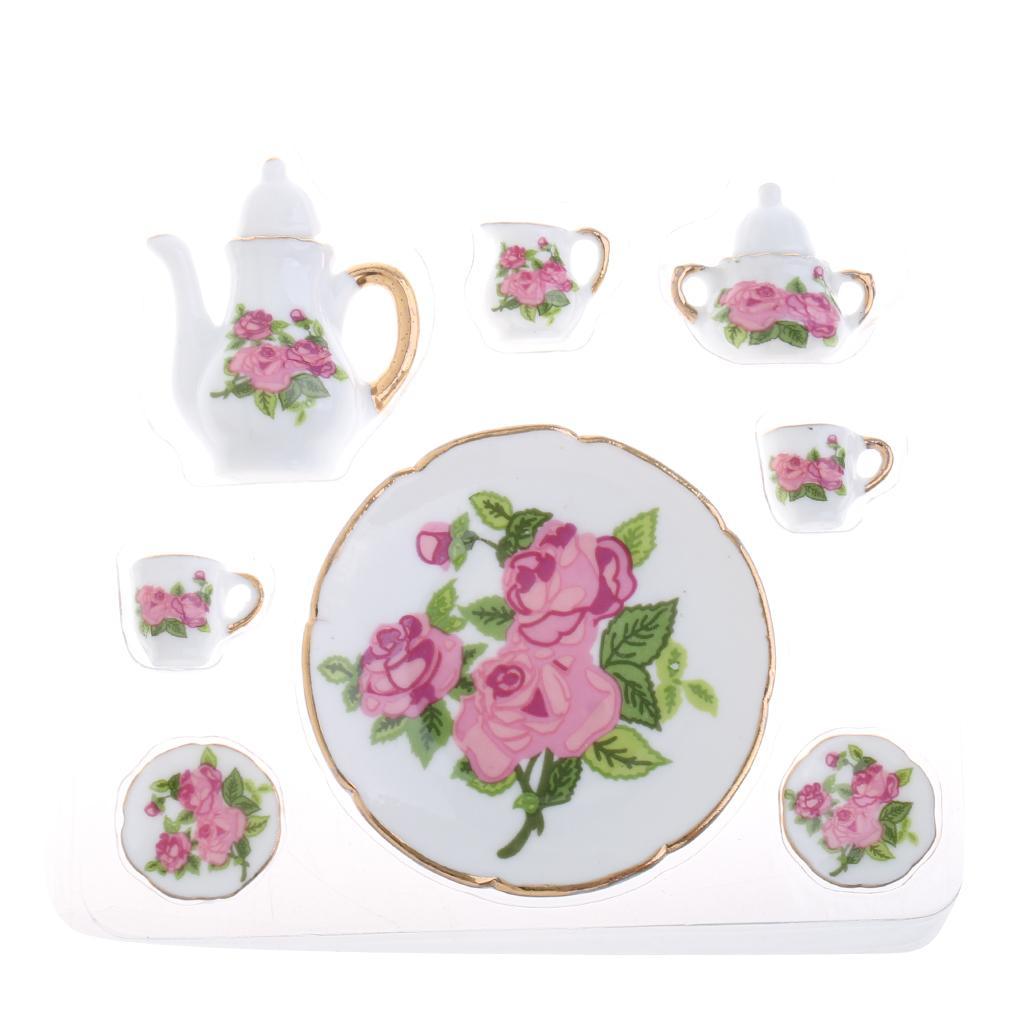 15pcs vaisselle à thé en porcelaine florale thé café ensemble 1:12