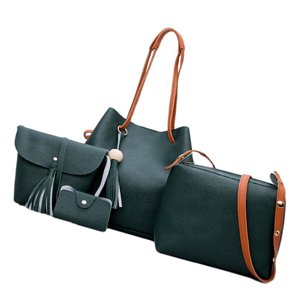 4-teiliges-Fashion-Damenhandtasche-Damen-Handtaschen-mit-Perlen-Anhaenger Indexbild 6