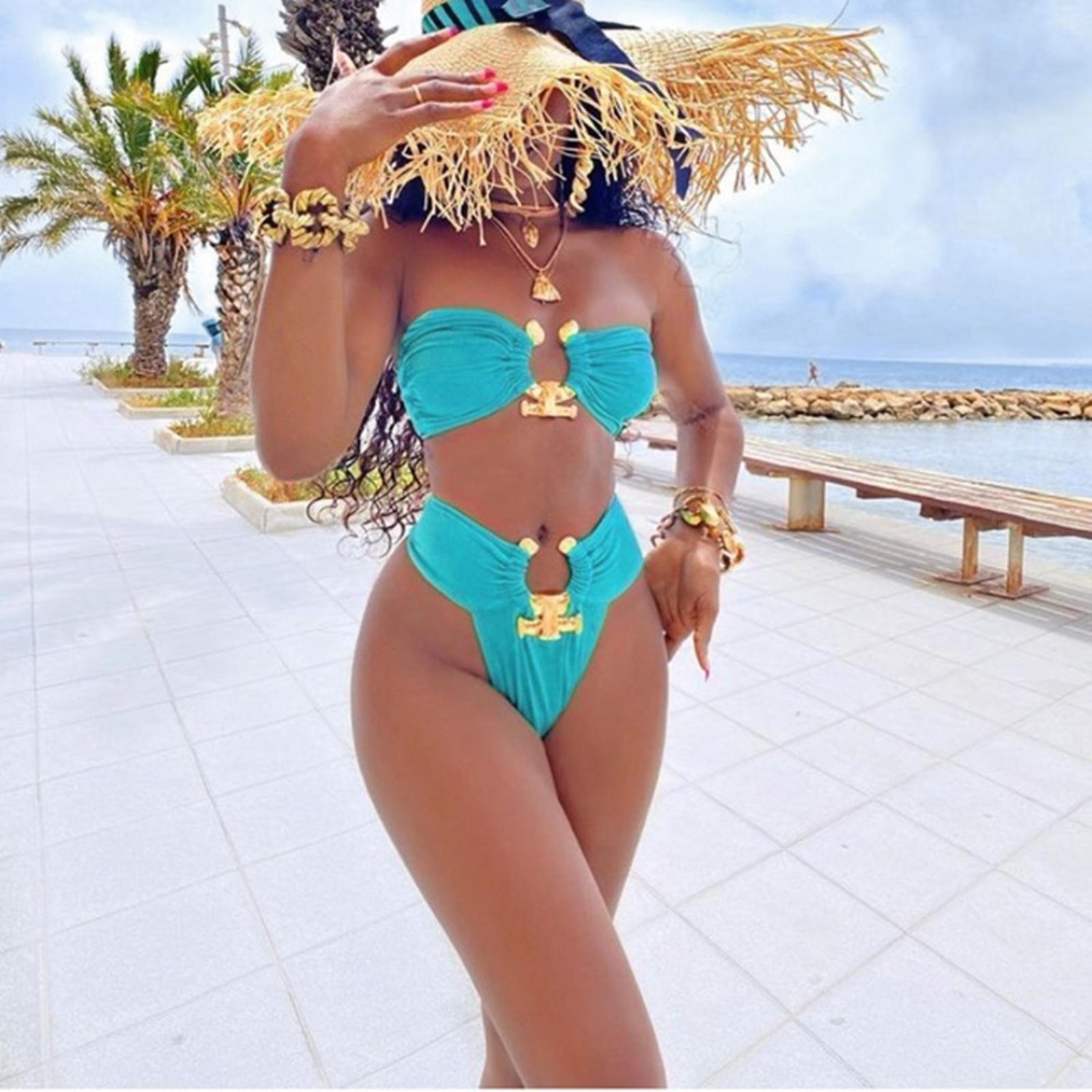 Indexbild 128 - Zwei Stücke Bikini Set Strappy Bademode Party Badeanzug Tankini Bademode