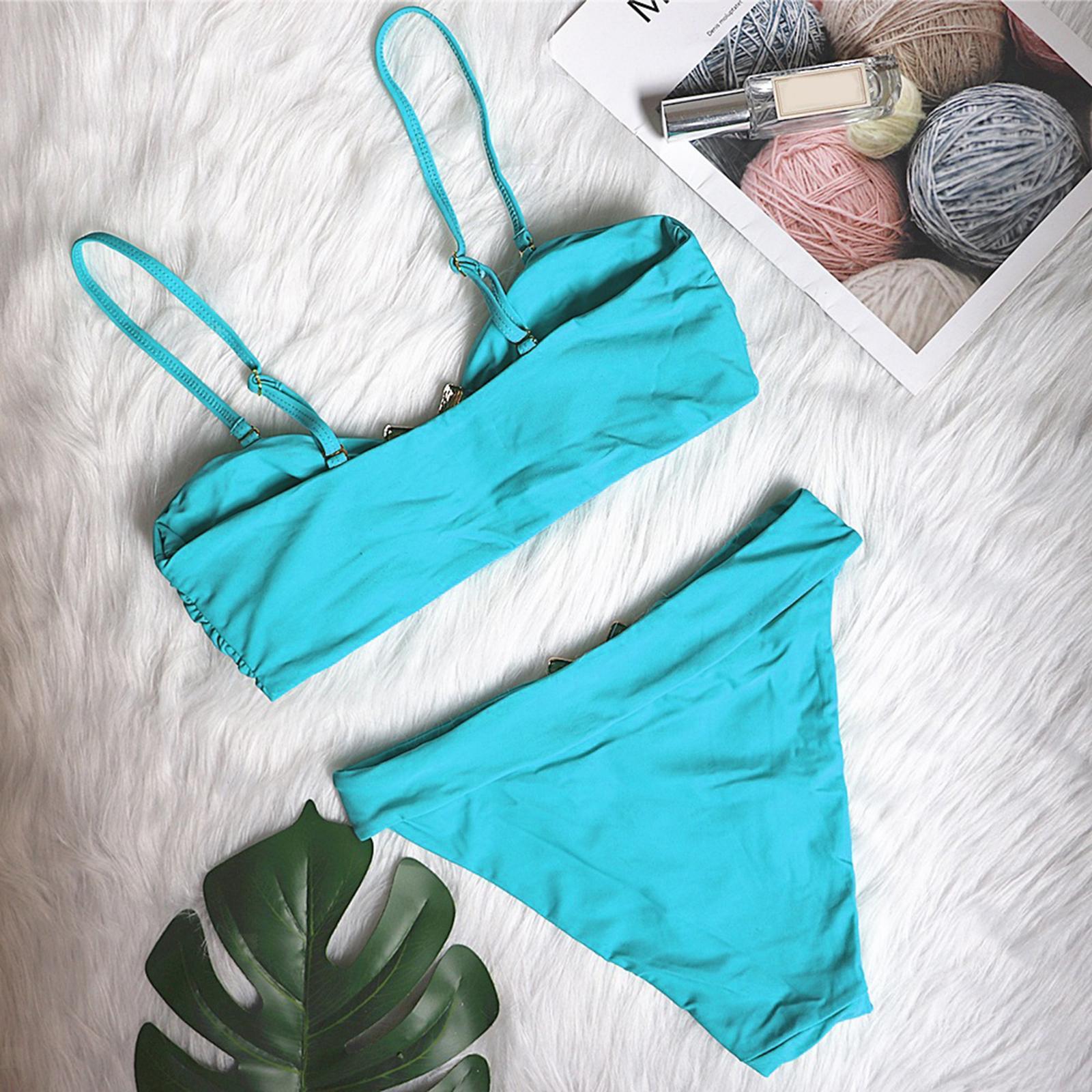 Indexbild 125 - Zwei Stücke Bikini Set Strappy Bademode Party Badeanzug Tankini Bademode
