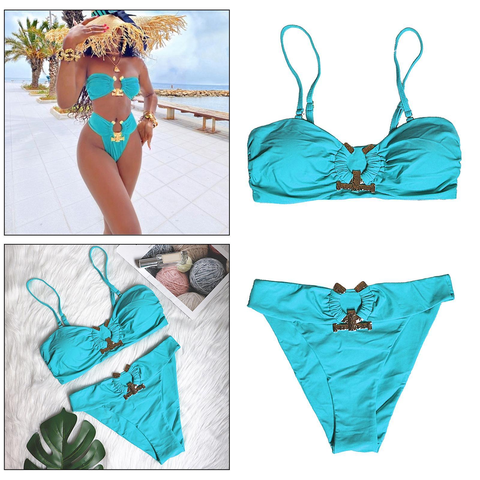 Indexbild 132 - Zwei Stücke Bikini Set Strappy Bademode Party Badeanzug Tankini Bademode