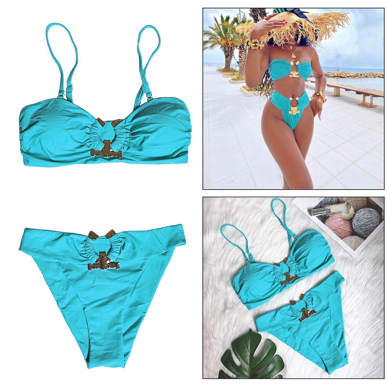 Indexbild 134 - Zwei Stücke Bikini Set Strappy Bademode Party Badeanzug Tankini Bademode
