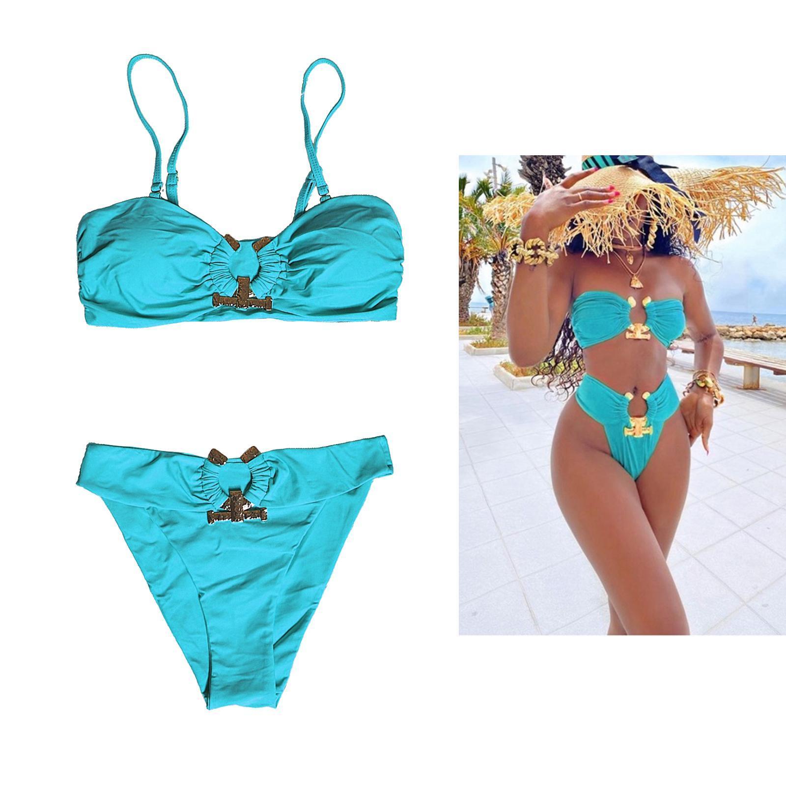 Indexbild 133 - Zwei Stücke Bikini Set Strappy Bademode Party Badeanzug Tankini Bademode