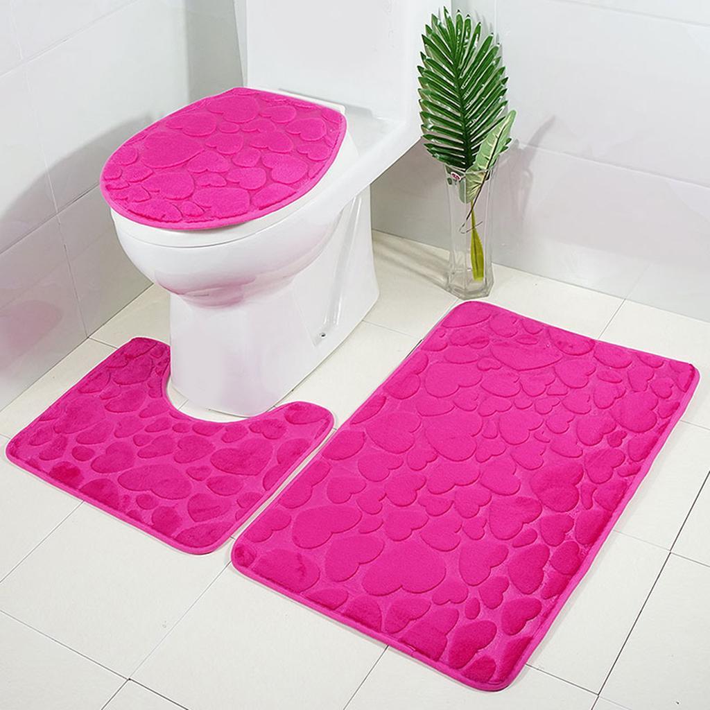 Badgarnitur-3-teilig-WC-Badvorleger-Duschmatte-Badeteppich-Badematte Indexbild 12