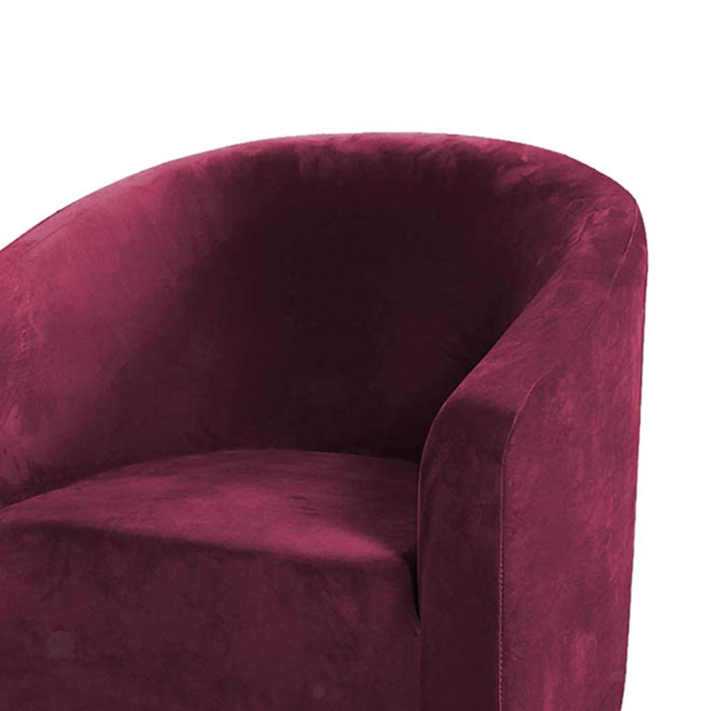 2pcs Solid Color Sofa Slipcover Velvet Tub Chair Cover Anti-Skid Stretchable