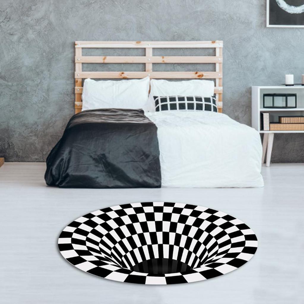 Nero-Bianco-Griglia-Tappeto-3D-Illusion-Vortice-Camera-Da-Letto-Anti-Pavimento miniatura 6