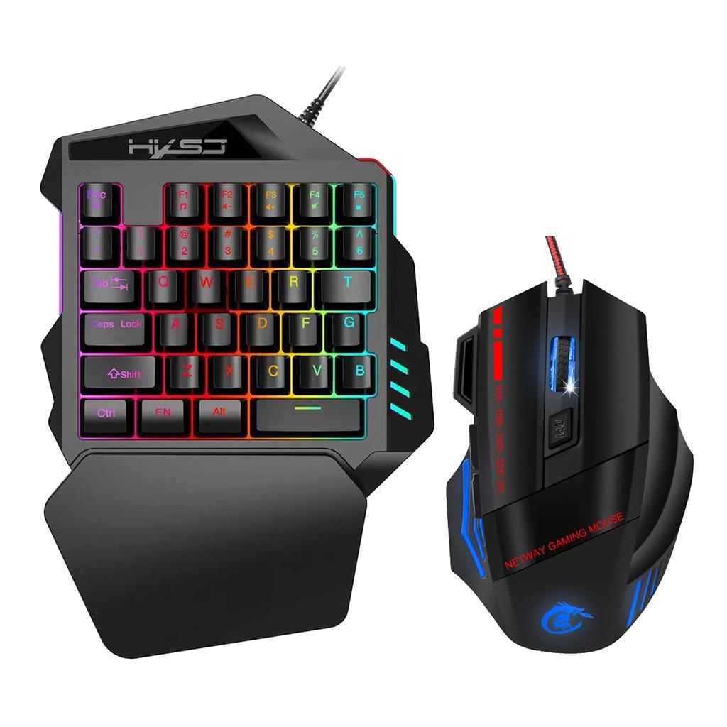 Mini-clavier-de-jeu-a-une-main-souris-Combo-USB-jeu-filaire-35-touches miniature 10