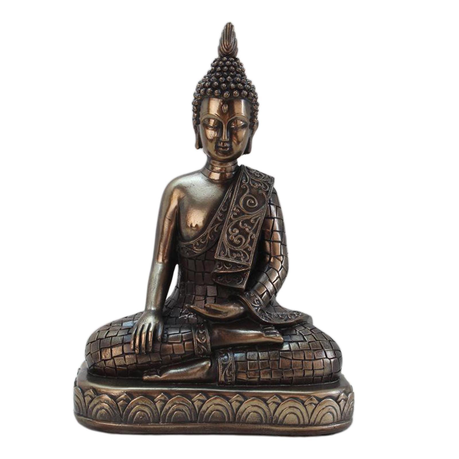 miniatura 14 - Statua di Buddha In Resina Sakyamuni Seduto Buddista Figurine Della