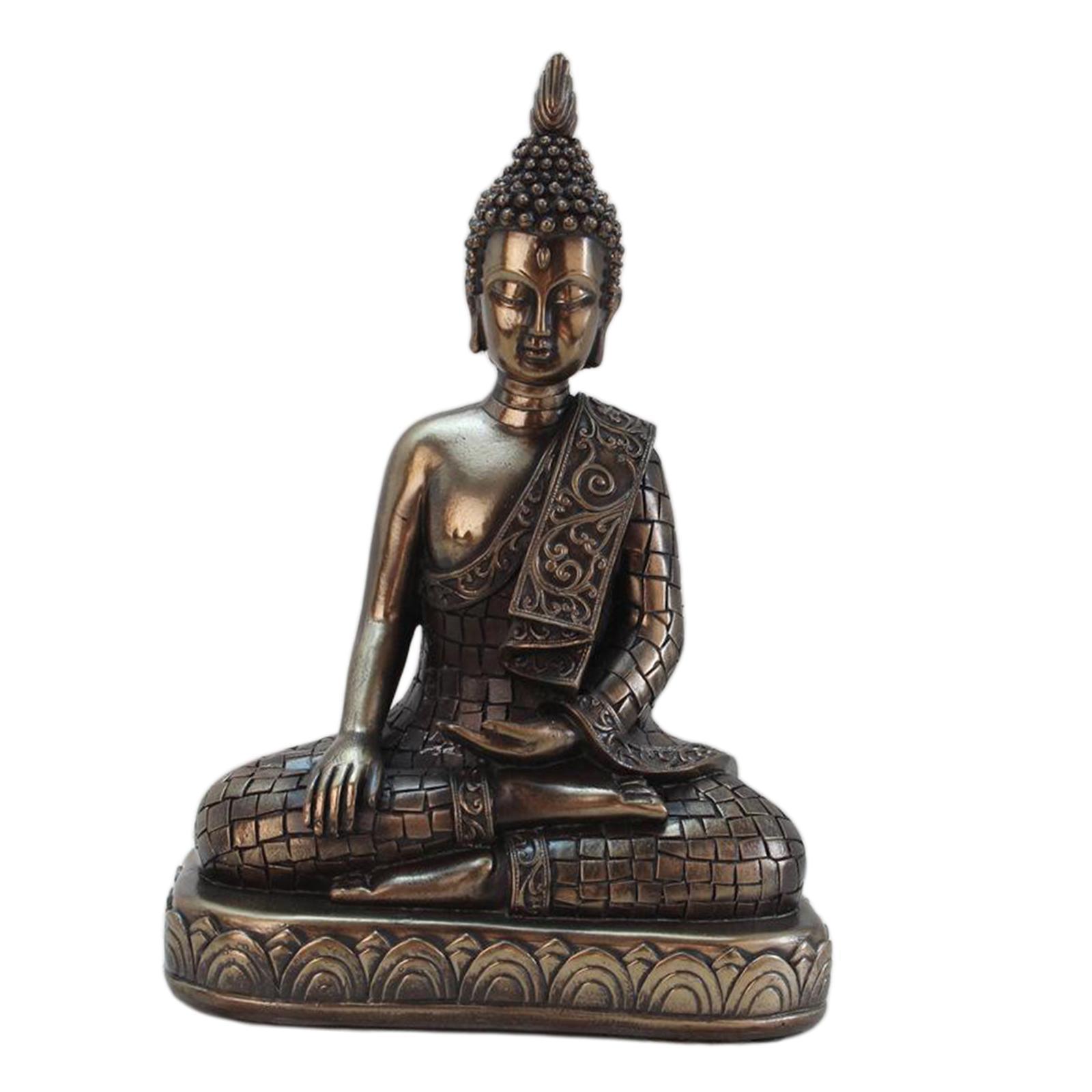 miniatura 15 - Statua di Buddha In Resina Sakyamuni Seduto Buddista Figurine Della