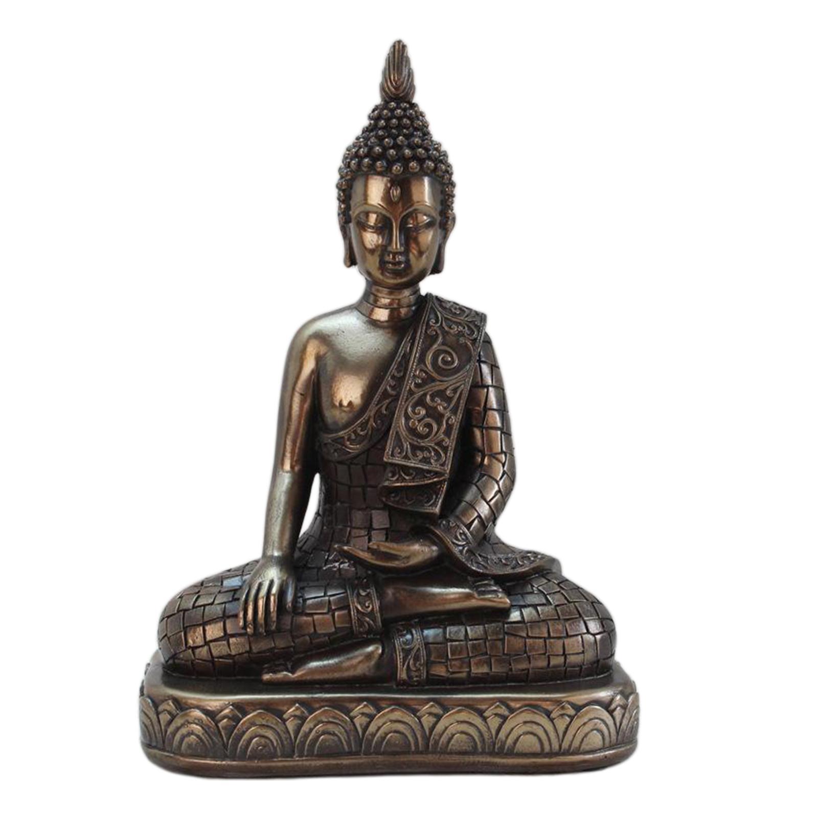 miniatura 12 - Statua di Buddha In Resina Sakyamuni Seduto Buddista Figurine Della