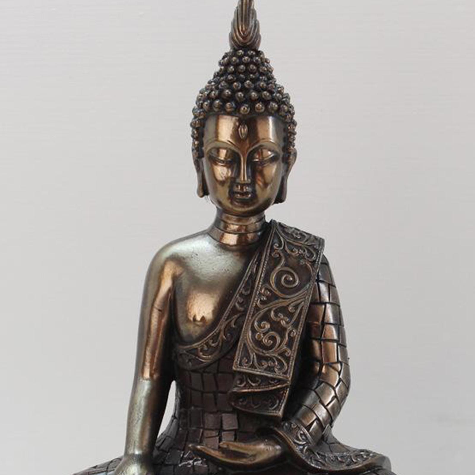 miniatura 16 - Statua di Buddha In Resina Sakyamuni Seduto Buddista Figurine Della