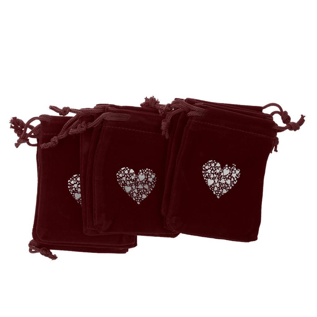 10pcs-4-034-x-3-034-velours-SACS-POCHES-a-Cordon-Motif-Coeur-Mariage-Fete-Sacs-Cadeau miniature 7